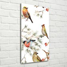 Wand-Bild Kunstdruck aus Hart-Glas Hochformat 70x140 Vögel Nadelbäume