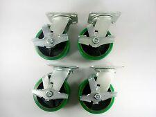 "6"" x 2"" Polyurethane On Cast Iron(Green) - Swivel with Brake (4EA)"