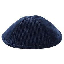"""Plain Dark Blue Corduroy Kippah Yarmulke 19 Cm 7.5"""" Polyester High Quality"""