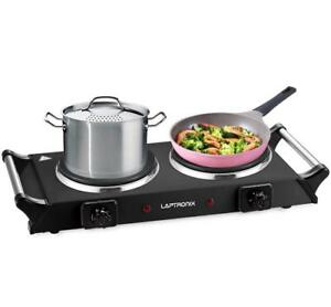 2500W PORTABLE ELECTRIC COOKER DOUBLE HOB HOT PLATE TABLE TOP BLACK HOTPLATE