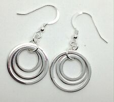 Solid Sterling Silver Triple Rings Drop Earrings, Plain, UK Seller.