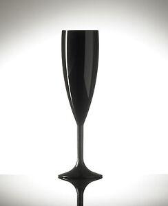 12 x Black Polycarbonate Plastic Champagne Glasses Flutes Party [5055202177673]