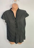 WOMENS NEXT SIZE UK 14 BLACK PLEAT STRETCH CASUAL SUMMER SHORT SLEEVE BLOUSE TOP