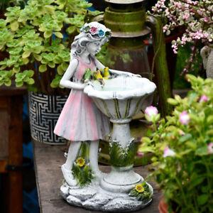 Angel Figure Sculpture Ornaments Home Outdoor Garden Flower Fairy Girl Solar