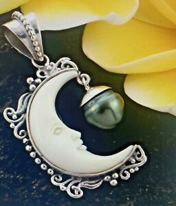 BALI GODDESS Tahitian Cultured Pearl (Baroque 9-10mm) Carved Moon Pendant silver