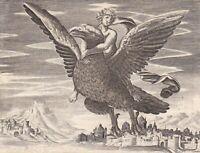 Gravure XVIIIe Enlèvement De Ganymède Ganymed Ganimede Ganumếdês Zeus Aigle
