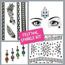 FESTIVAL Job lot- BINDI- Stick On FACE GEM-Temporary TATTOO -GLITTER BODY JEWEL1