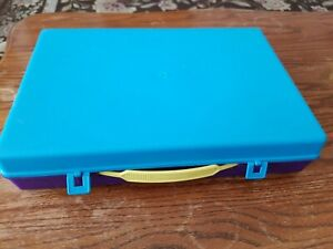 Vtg 1987 Class Case School Supplies Pencil Box Organizer Purple Blue Made In USA