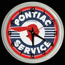 "16"" Pontiac Service Distressed Sign Red Neon Clock Chevy"