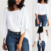Sexy Women's Summer Backless Batwing Sleeve O-Neck Casual Loose Short Top Blouse