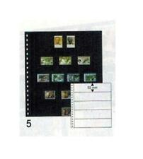 10 Lindner 05P Omnia Fiches de Stock Noir 2x 5 Rayures Poches 245x52 MM