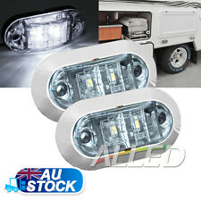 2X12v Oblong Cool White Side Marker Light  Indicator Lamp Caravan Motorhome RV