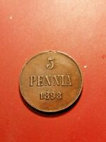 Finland/Russia *Nikolaj   II - 5 penni  1898 Copper *Good 1+ *