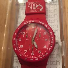 Swatch Watch Red Shadow SUSR400 D Surfer Girls Pro China 2012 Chrono Date Sport