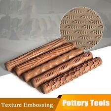 Wooden Rolling Pin Baking Cookie Textured Embossing Fondant Cake Roller Tool