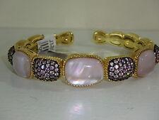 JUDITH RIPKA YELLOW GOLD CLAD DOUBLET & PINK DIAMONIQUE CUFF BRACELET AVERAGE
