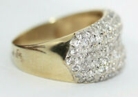 Vintage Real 10K Solid Gold Pave Radiant Clear CZ Cocktail Cluster Ring Sz 8.75