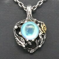 Vintage Antique Blue Moonstone Pendant Necklace Women Jewelry Nickel Free