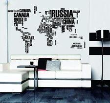 Creative DIY English Words World Map Wall Stickers Home Decor Wall Art Wallpaper