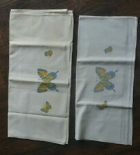 New listing Vintage Dish Bar Towel Flower Blue Yellow Butterfly Pair