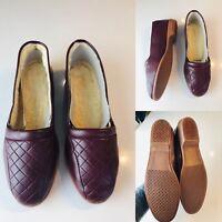 Ladies Wool Cushioned Leather Winter Shoes Slip On Comfort UK 7 EU40.5 Burgundy