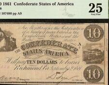 1861 $10 Dollar Confederate States Currency Civil War Note Money T-28 Pmg 25