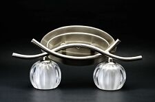2 Lights Wall Mounted Cosmo Fixture Lamp Lighting with Brushed Steel & Glass
