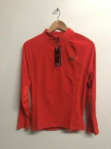 Asics Men's Running Top 1/2 Zip Long Sleeve Wind Jacket - Orange - New