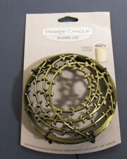 YANKEE CANDLE Light Brass Bronze tiny vines ILLUMA-LID JAR CANDLE TOPPER NWT