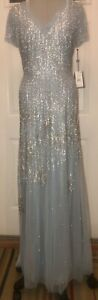 Adrianna Papell BEADED Short-Sleeve Trumpet Gown sz 12 NEW light blue ELEGANT!