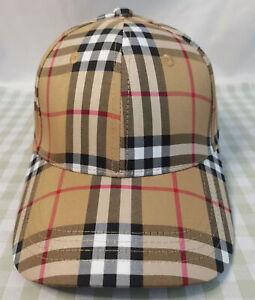 NWT Burberry Check Baseball Hat Men Women Adjustable Cap Fashion Outdoor Hat