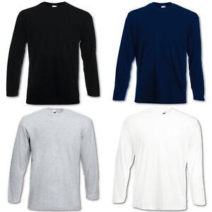 5 Fruit of the Loom Herren T Shirts Longsleeve M L XL XXL Langarm Set Shirt Neu
