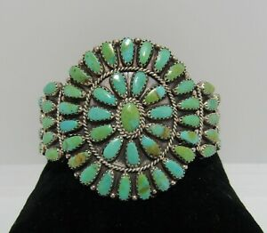 Signed LMB Larry Moses Begay Sterling Silver Green Turquoise Navajo Bracelet
