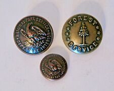 Lot of 3 Waterbury Metal Buttons~Forest Service & National Park Service~Nice!