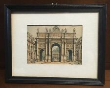 RARE French Artist Barday Signed Hand-Colored Sketch Paris L'Are-de-Triomphe