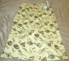 VTG New Ruff Hewn Women's Size 14 Wrap Skirt Khaki Tan Floral Print Midi Pencil