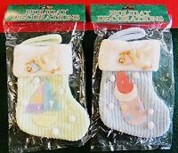 Newborn Baby w/ Stork Stocking Christmas Tree Ornament Holiday Decoration NIP