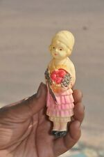 Vintage Girl With Flower Bouquet Colorful Celluloid Figurine , Japan