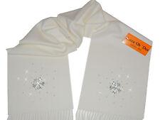 LUXE OH `DOR® 100% Cashmere Schal Luxus Schneeflocke weiß silber 180 x 25 cm