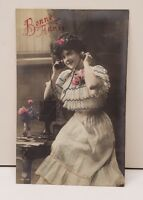 Victorian RPPC New Year [Bonne Annee] Postcard Pretty Woman HandColored w/Phone