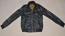 Mens Superdry Leather Flight Jacket Bomber Coat Black Size Medium