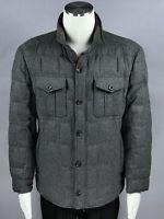 BRUNELLO CUCINELLI Gray Wool Silk Cashmere Zip Button Men's Coat Jacket Size XL