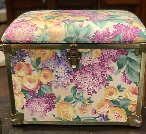 """Vintage (Antique ?) Boudoir/ Sewing Big Box Covered  Fabric  ,Floral 14 1/2"""""""