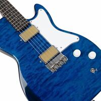 Harmony Jupiter Electric Guitar, Limited Edition Flame Maple Top Transparent Blu