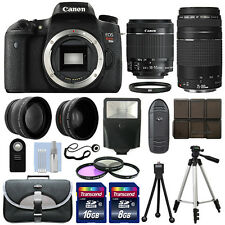 Canon T6s / 760D DSLR Camera + 4 Lens Kit 18-55 STM + 75-300+ 24GB Top Value Kit