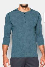Under Armour Mens Extra Large Green 3/4 Sleeve Henley Shirt Ua Nwt Heatgear