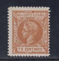 GUINEA (1905) NUEVO SIN FIJASELLOS MNH - EDIFIL 36 (75 cts) ALFONSO XIII