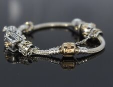 $1,080 Pandora Sterling Silver 14k Yellow Gold Barrel Clasp Charm Bracelet 7.5''
