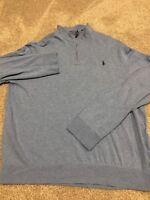 Polo Ralph Lauren Mens Blue Long Sleeve Quarter Zip Sweater Size XL