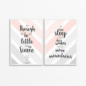 Nursery Wall Art Bedroom A4 A3 - Let her sleep - Though she be but little prints